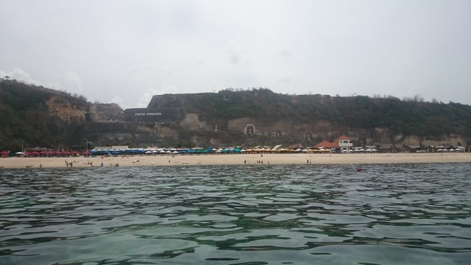 View of the beach from my kayak